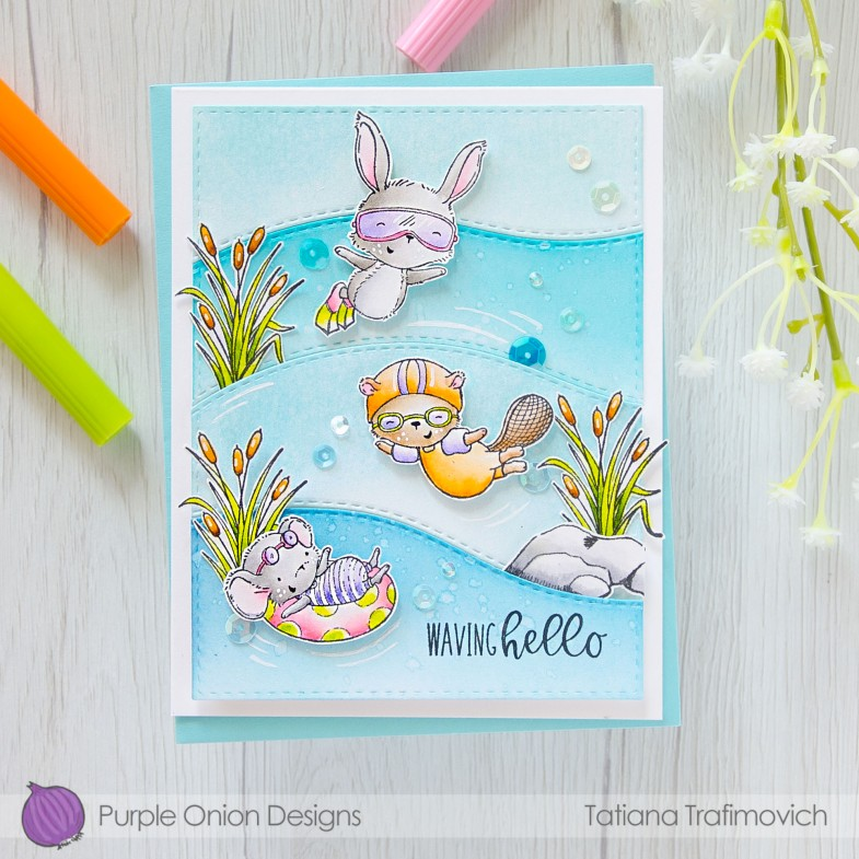 Waving Hello #handmade card by Tatiana Trafimovich #tatianacraftandart - stamps by Purple Onion Designs #purpleoniondesigns