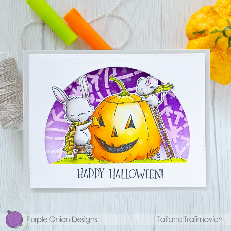 Happy Halloween #handmade card by Tatiana Trafimovich #tatianacraftandart - stamps by Purple Onion Designs #purpleoniondesigns