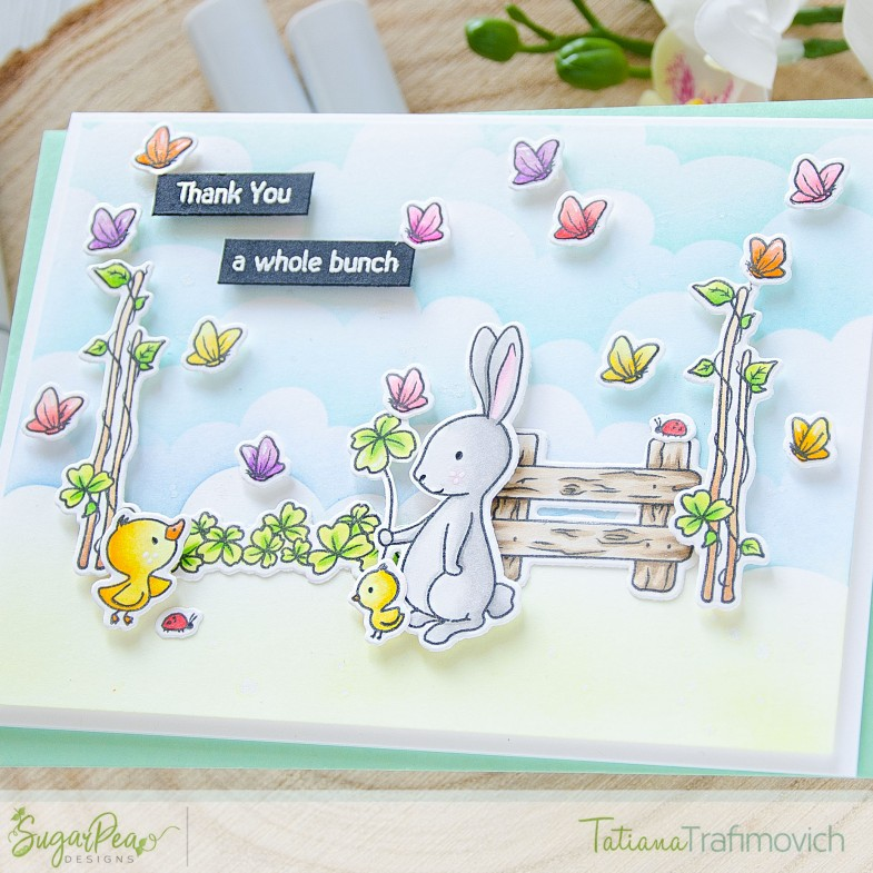 Thank You A Whole Bunch #handmade card by Tatiana Trafimovich #tatianacraftandart - Cottontail Cuties stamp set by SugarPea Designs #sugarpeadesigns