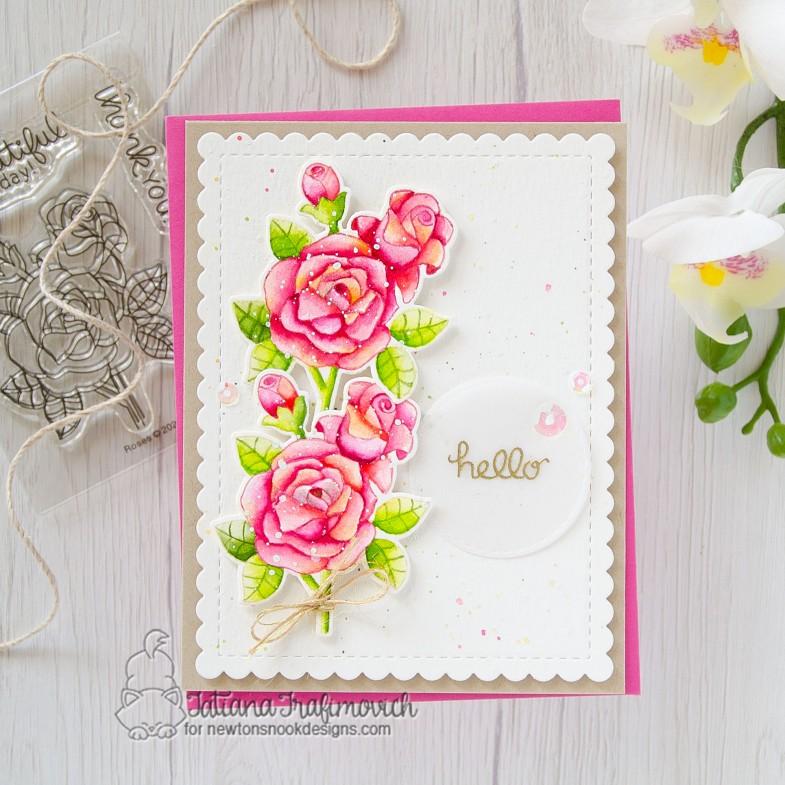 Hello #handmade card by Tatiana Trafimovich #tatianacraftandart - Roses stamp set by Newton's Nook Designs #newtonsnook