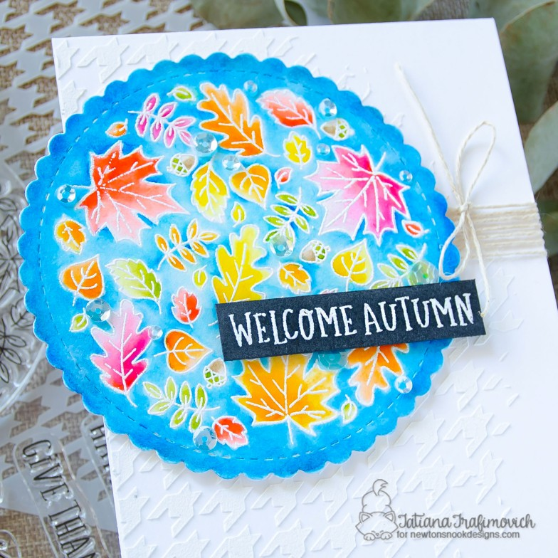 Welcome Autumn #handmade card by Tatiana Trafimovich #tatianacraftandart - Fall Rounabout stamp set by Newton's Nook Designs #newtonsnook