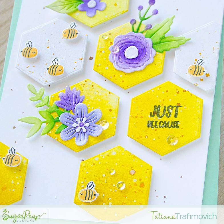 Just Beecause #handmade card by Tatiana Trafimovich #tatianacraftandart - stamp and die sets by SugarPea Designs #sugarpeadesigns