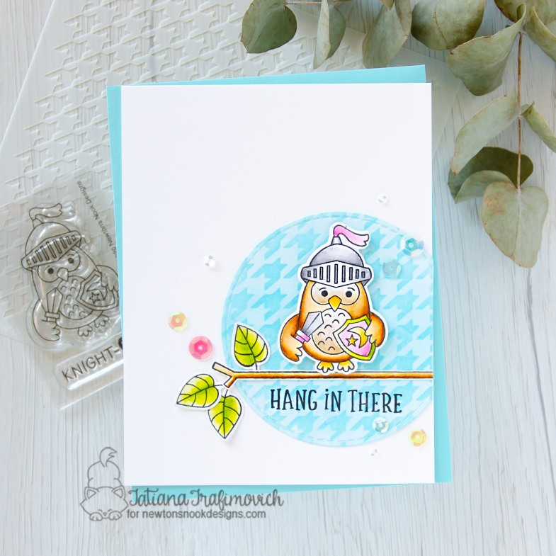 Hang In There #handmade card by Tatiana Trafimovich #tatianacraftandart - Knight Owl stamp set by Newton's Nook Designs #newtonsnook