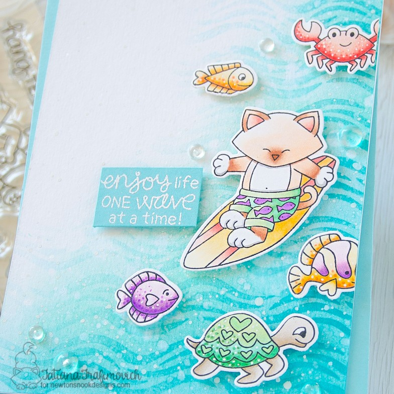 Enjoy Life One Way At A Time #handmade card by Tatiana Trafimovich #tatianacraftandart - Newton's Perfect Wave stamp set by Newton's Nook Designs #newtonsnook