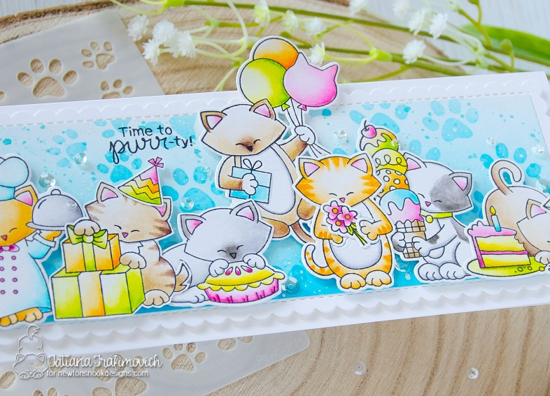 Time To Purr-ty #handmade card by Tatiana Trafimovich #tatianacraftandart - stamps by Newton's Nook Designs #newtonsnook