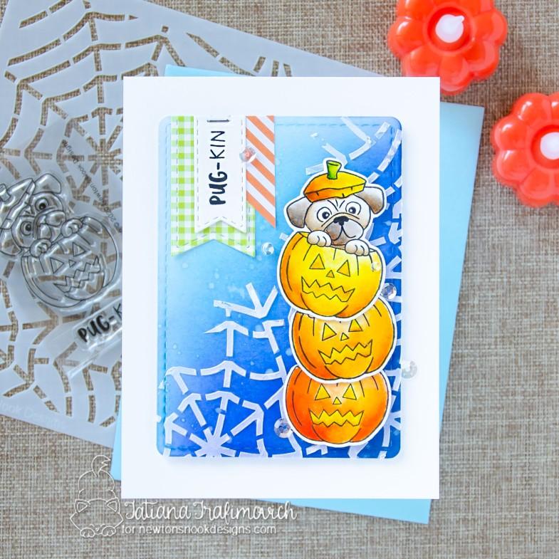 Pug-kin #handmade card by Tatiana Trafimovich #tatianacraftandart - Pug-kin stamp set by Newton's Nook Designs #newtonsnook