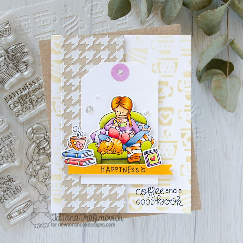 Happiness Is... #handmade card by Tatiana Trafimovich #tatianacraftandart - Sip And Stories stamp set by Newton's Nook Designs #newtonsnook