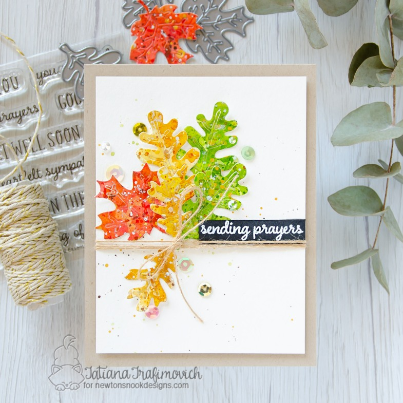 Sending Prayers #handmade card by Tatiana Trafimovich #tatianacraftandart - Autumn Leaves Die set by Newton's Nook Designs #newtonsnook