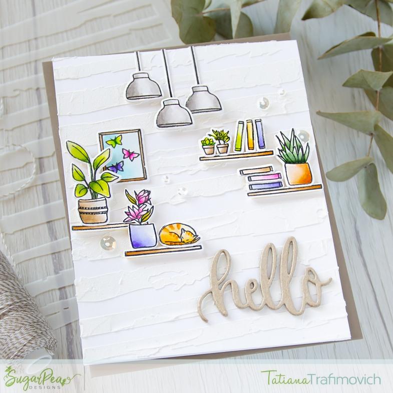 Hello #handmade card by Tatiana Trafimovich #tatianacraftandart - Let's Stay Home stamp set by SugarPea Designs #sugarpeadesigns