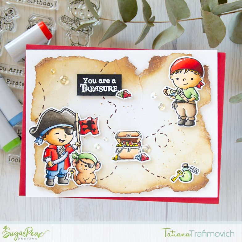 You Are A Treasure #handmade card by Tatiana Trafimovich #tatianacraftandart - Shiver Me Timbers stamp set by SugarPea Designs #sugarpeadesigns for #STAMPtember collaboration