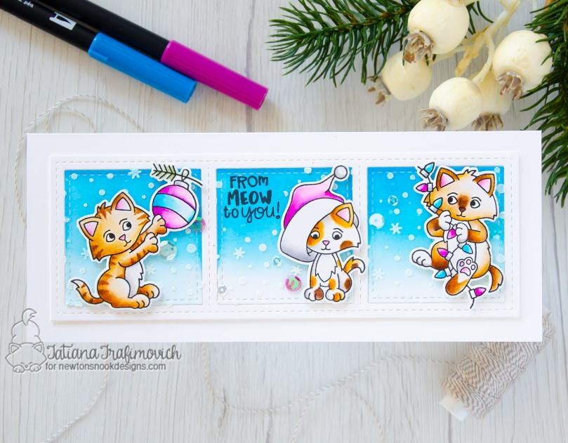 From Meow To You #handmade card by Tatiana Trafimovich #tatianacraftandart - A Kitten Christmas stamp set by Newton's Nook Designs #newtonsnook