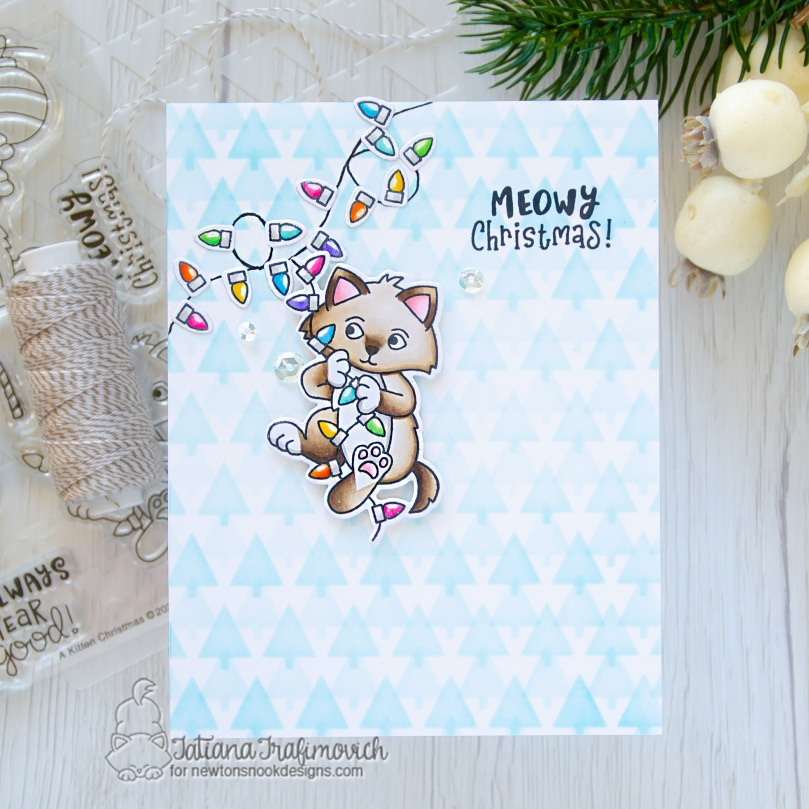 Meowy Christmas #handmade card by Tatiana Trafimovich #tatianacraftandart - A Kitten Christmas stamp set by Newton's Nook Designs #newtonsnook