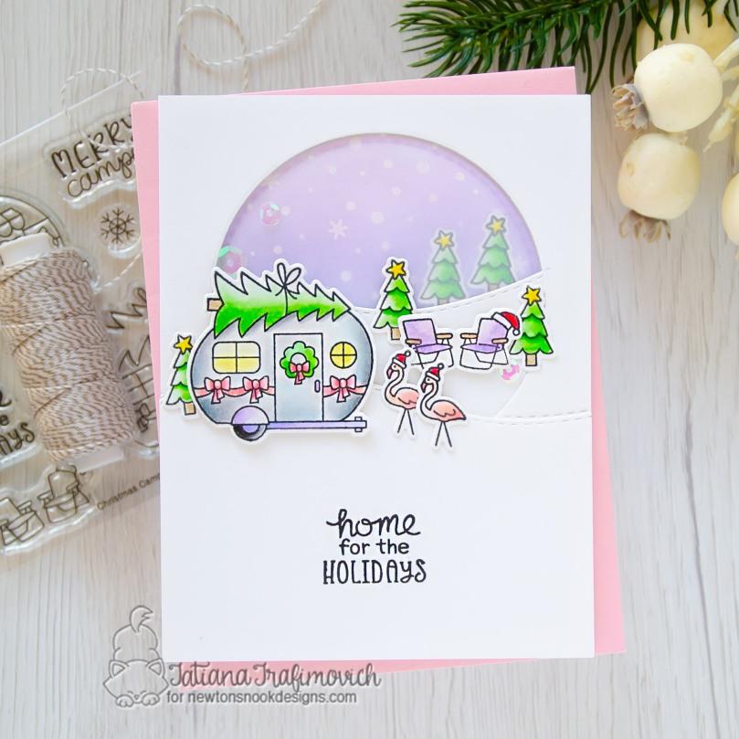 Home For The Holidays #handmade card by Tatiana Trafimovich #tatianacraftandart - Christmas Campers stamp set by Newton's Nook Designs #newtonsnook