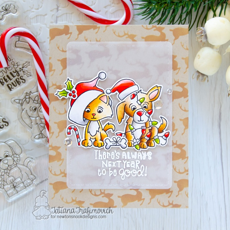 There's Always Next Year To Be Good #handmade card by Tatiana Trafimovich #tatianacraftandart - Christmas Puppies stamp set by Newton's Nook Designs #newtonsnook