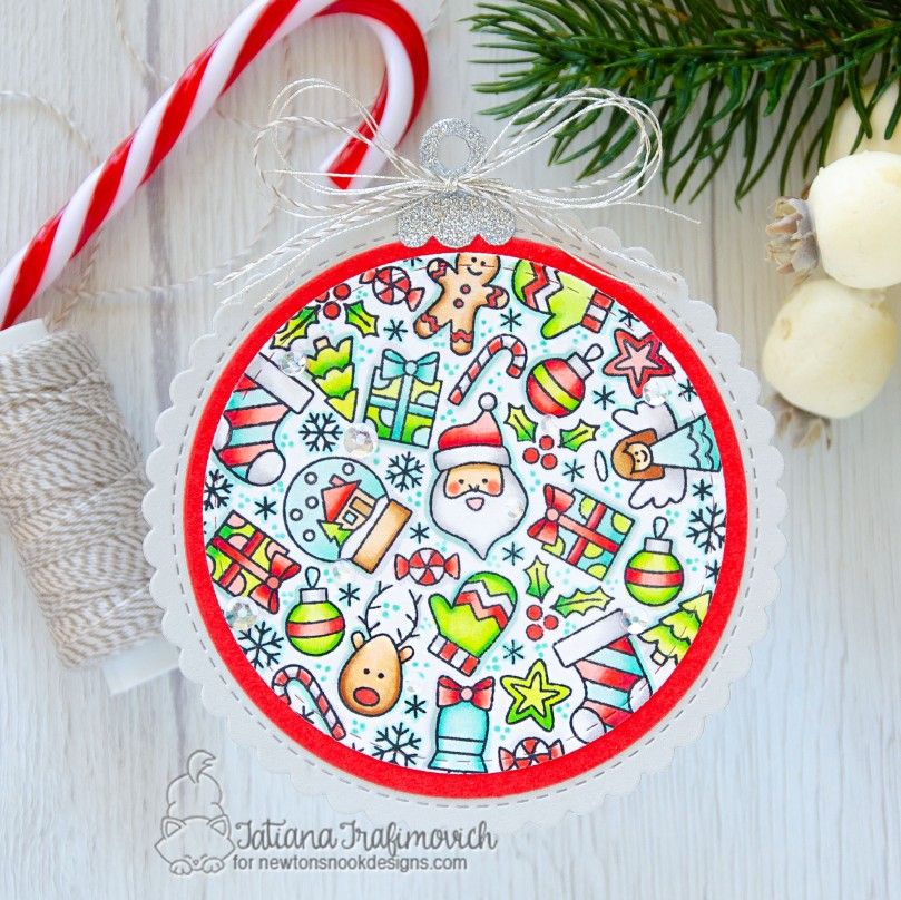 Holiday Ornament #handmade card by Tatiana Trafimovich #tatianacraftandart - Christmas Roundabout stamp set by Newton's Nook Designs #newtonsnook