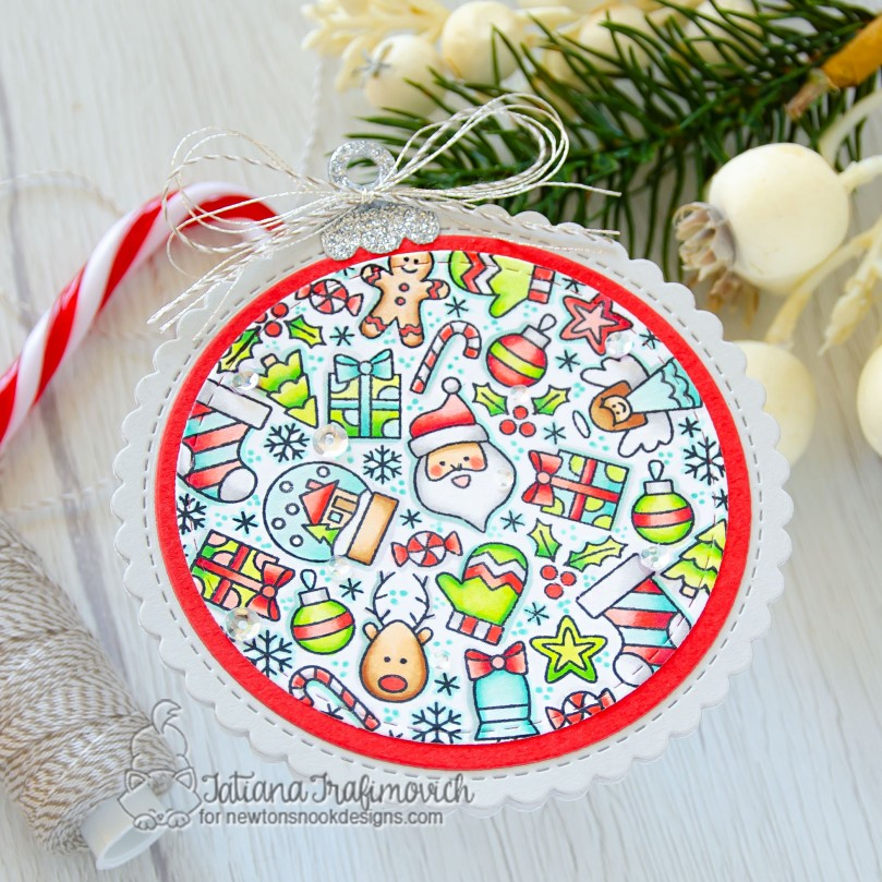 Holiday Ornament #handmade card by Tatiana Trafimovich #tatianacraftandart - Christmas Roundabout stamp set by Newton's Nook Designs #newtonsnook