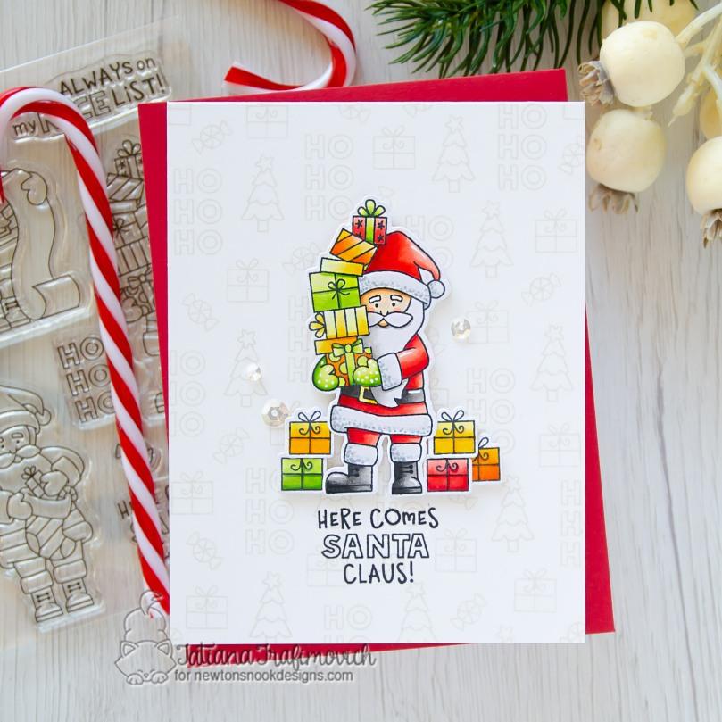 Here Comes Santa Claus #handmade card by Tatiana Trafimovich #tatianacraftandart - Dear Santa stamp set by Newton's Nook Designs #newtonsnook