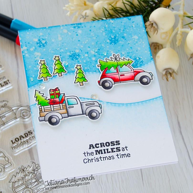 Across The Miles At Christmas Time #handmade card by Tatiana Trafimovich #tatianacraftandart - Destination Christmas stamp set by Newton's Nook Designs #newtonsnook