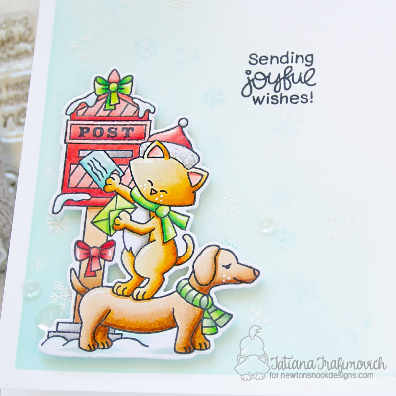 Sending Joyful Wishes #handmade card by Tatiana Trafimovich #tatianacraftandart - Holiday Post stamp set by Newton's Nook Designs #newtonsnook