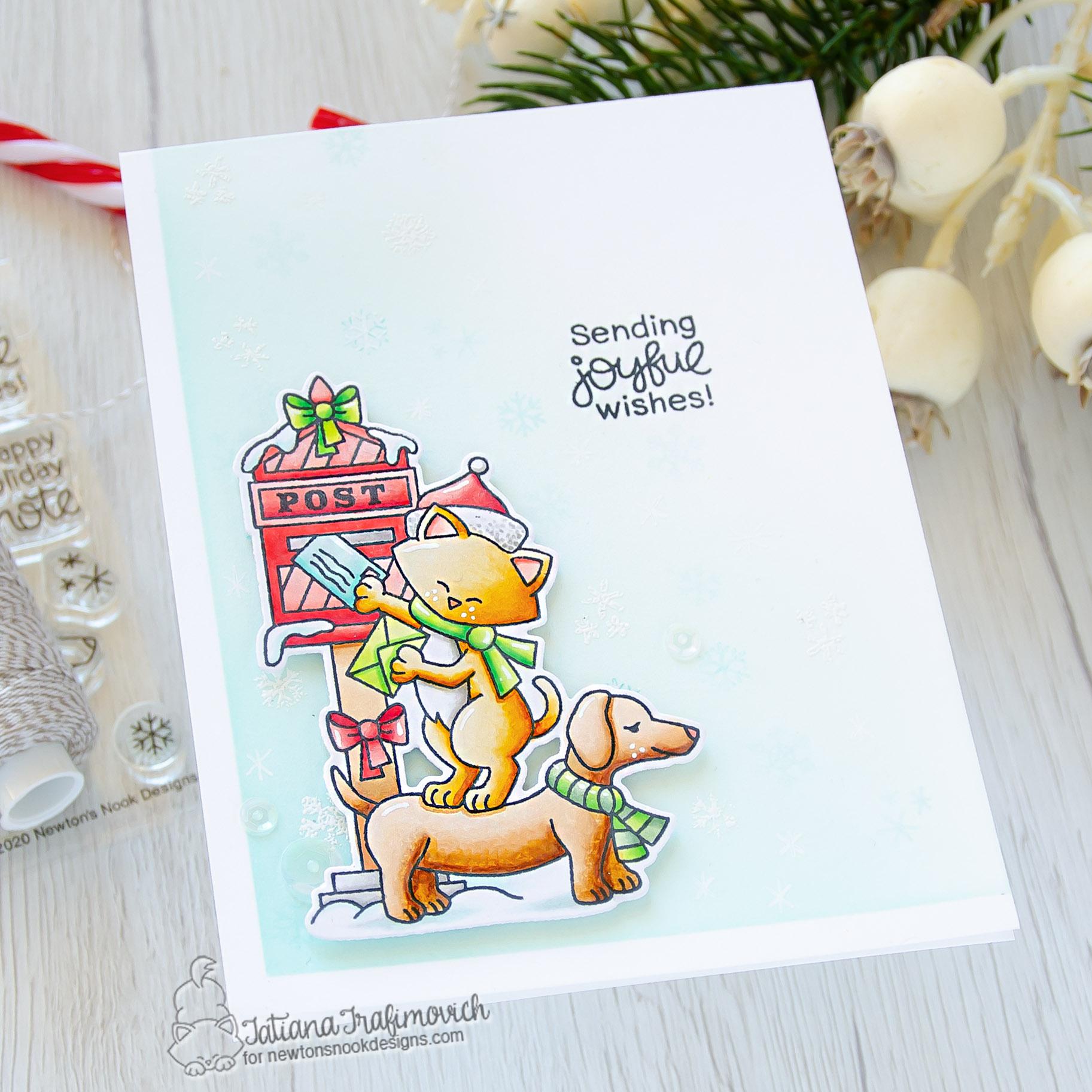 Sending Joyful Wishes #handmade card by Tatiana Trafimovich #tatianacraftandart - Holiday Post stamp set by Newton's Nook Designs #newtonsnook