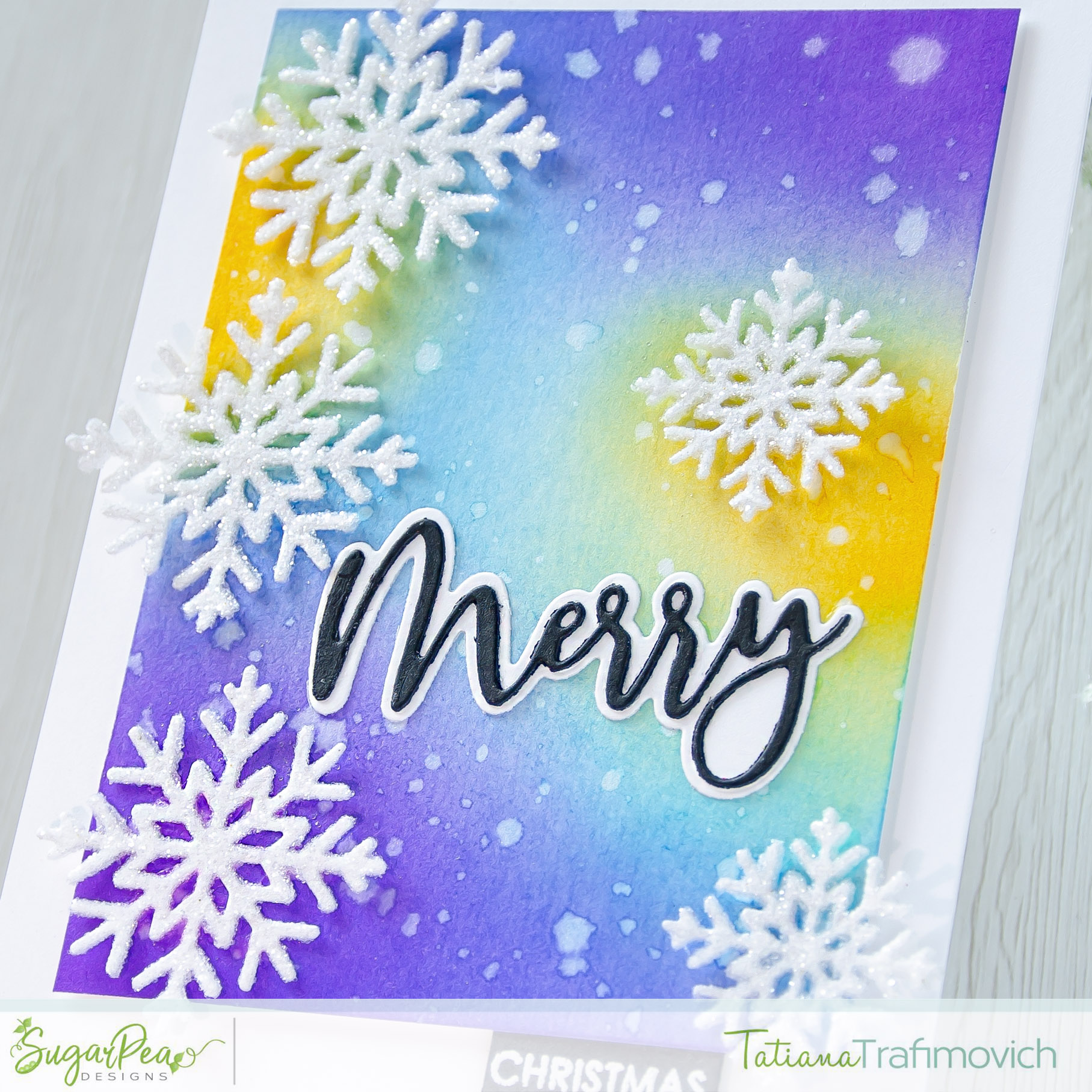 Merry Christmas #handmade card by Tatiana Trafimovich #tatianacraftandart - Snowflake Tag SugarCut by SugarPea Designs #sugarpeadesigns
