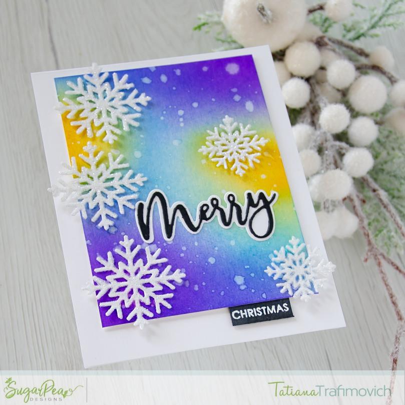 Merry Christmas #handmade card by Tatiana Trafimovich #tatianacraftandart - Snowflake Tag SugarCut by SugarPea Designs #sugarpeadesigns