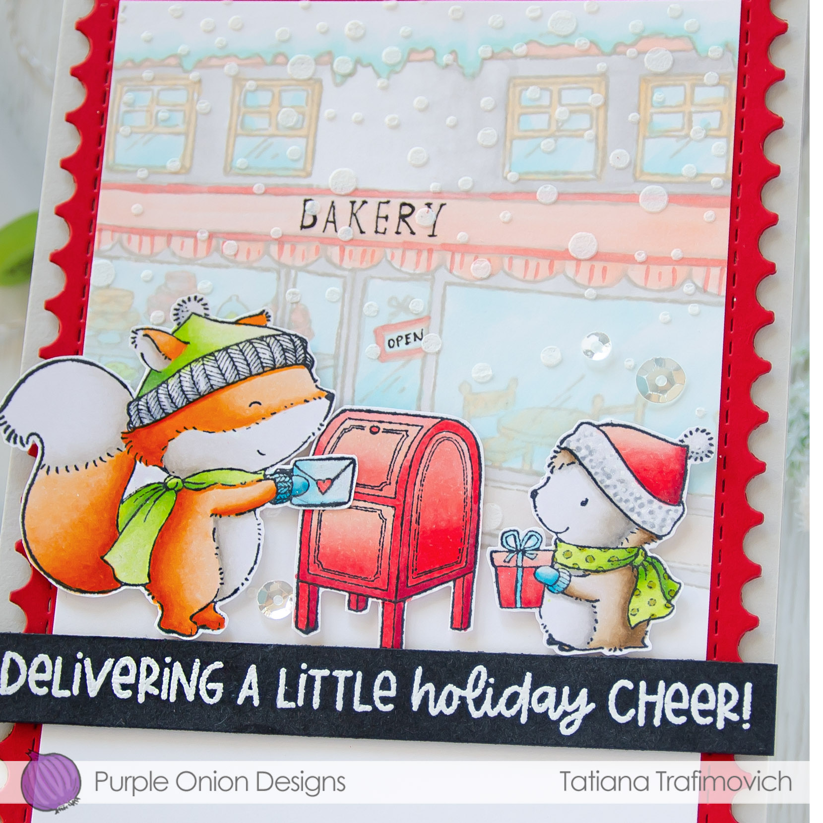Delivering A Little Holiday Cheer! #handmade card by Tatiana Trafimovich #tatianacraftandart - stamps by Purple Onion Designs