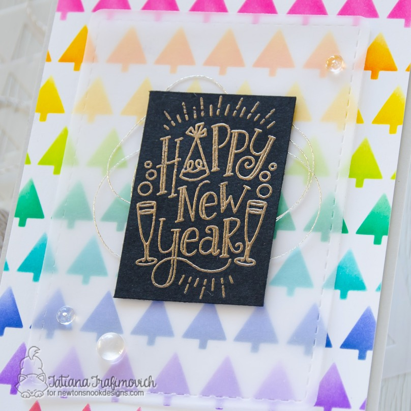 Happy New Year #handmade card by Tatiana Trafimovich #tatianacraftandart - Happy New Year stamp set by Newton's Nook Designs #newtonsnook