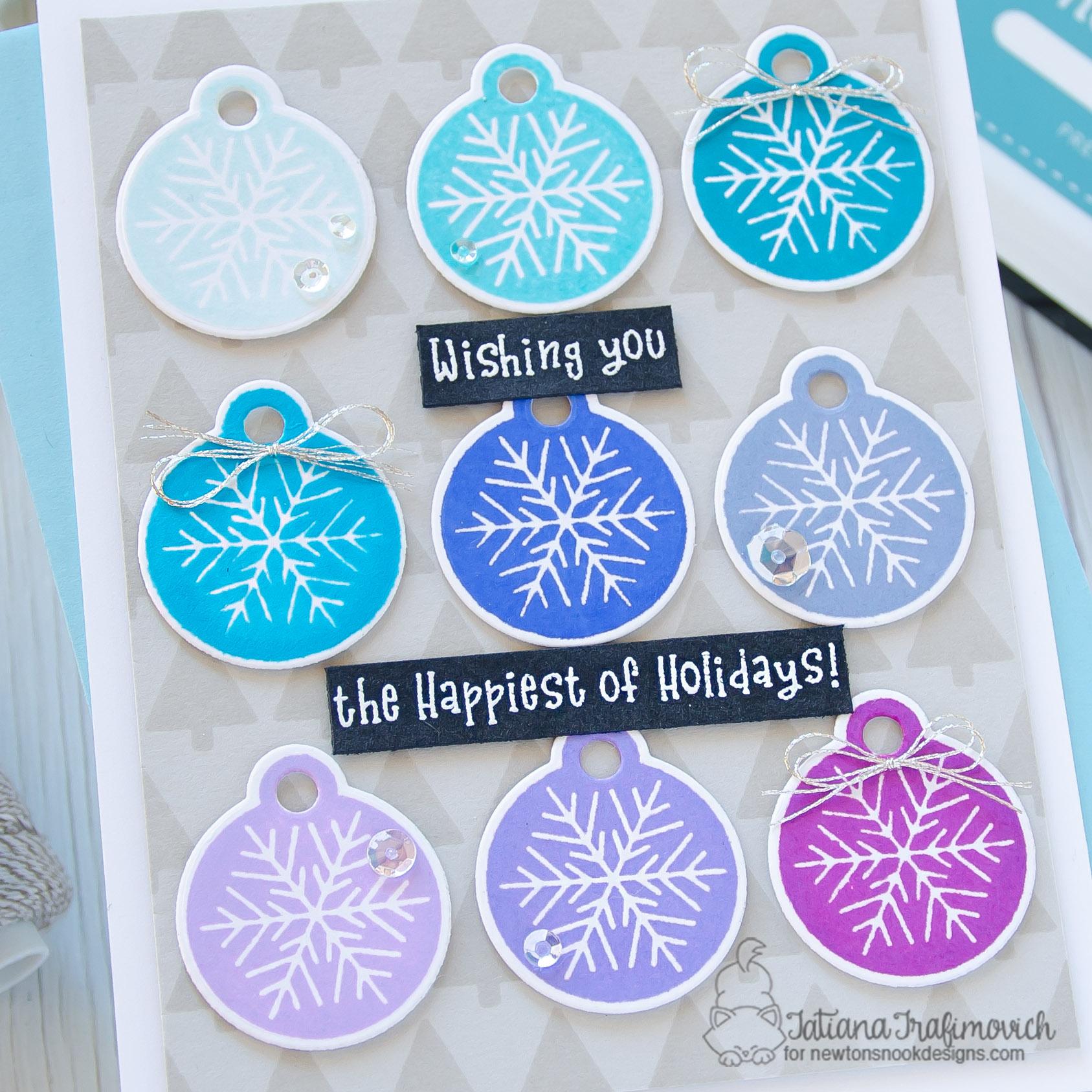 Wishing You The Happiest Of Holidays #handmade card by Tatiana Trafimovich #tatianacraftandart - Jolly Tags stamp set by Newton's Nook Designs #newtonsnook