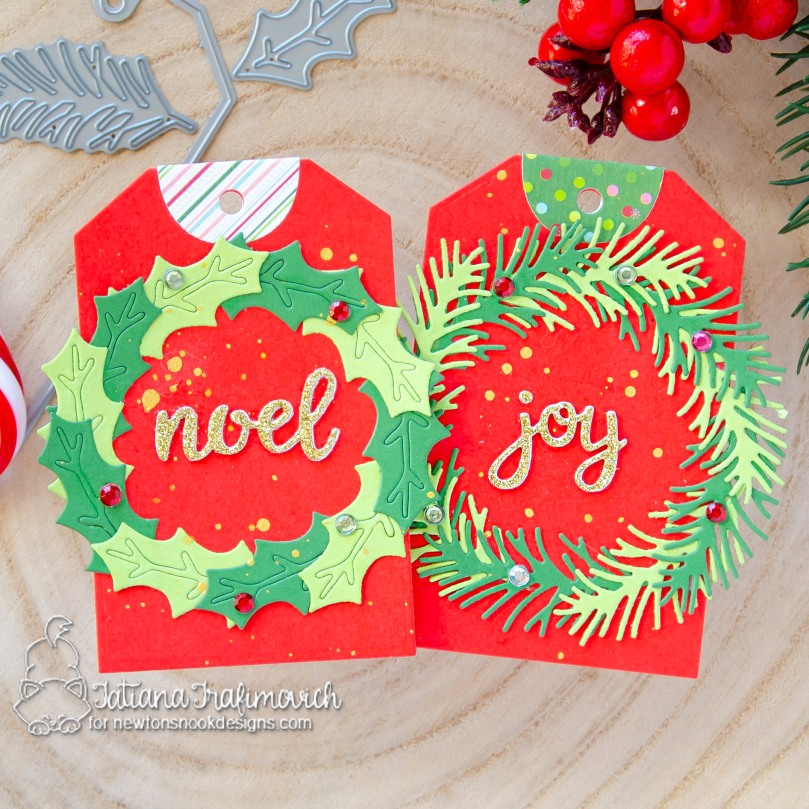 Christmas #handmade tags by Tatiana Trafimovich #tatianacraftandart - Pines & Holly Die Set by Newton's Nook Designs #newtonsnook