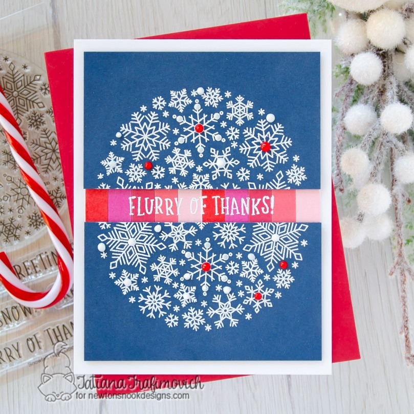 Flurry of Thanks #handmade card by Tatiana Trafimovich #tatianacraftandart - Snowfall Roundabout stamp set by Newton's Nook Designs #newtonsnook