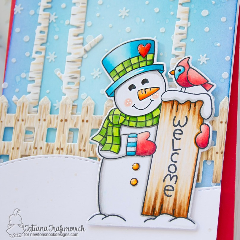 Welcome #handmade card by Tatiana Trafimovich #tatianacraftandart - Snowman Greetings stamp set by Newton's Nook Designs #newtonsnook
