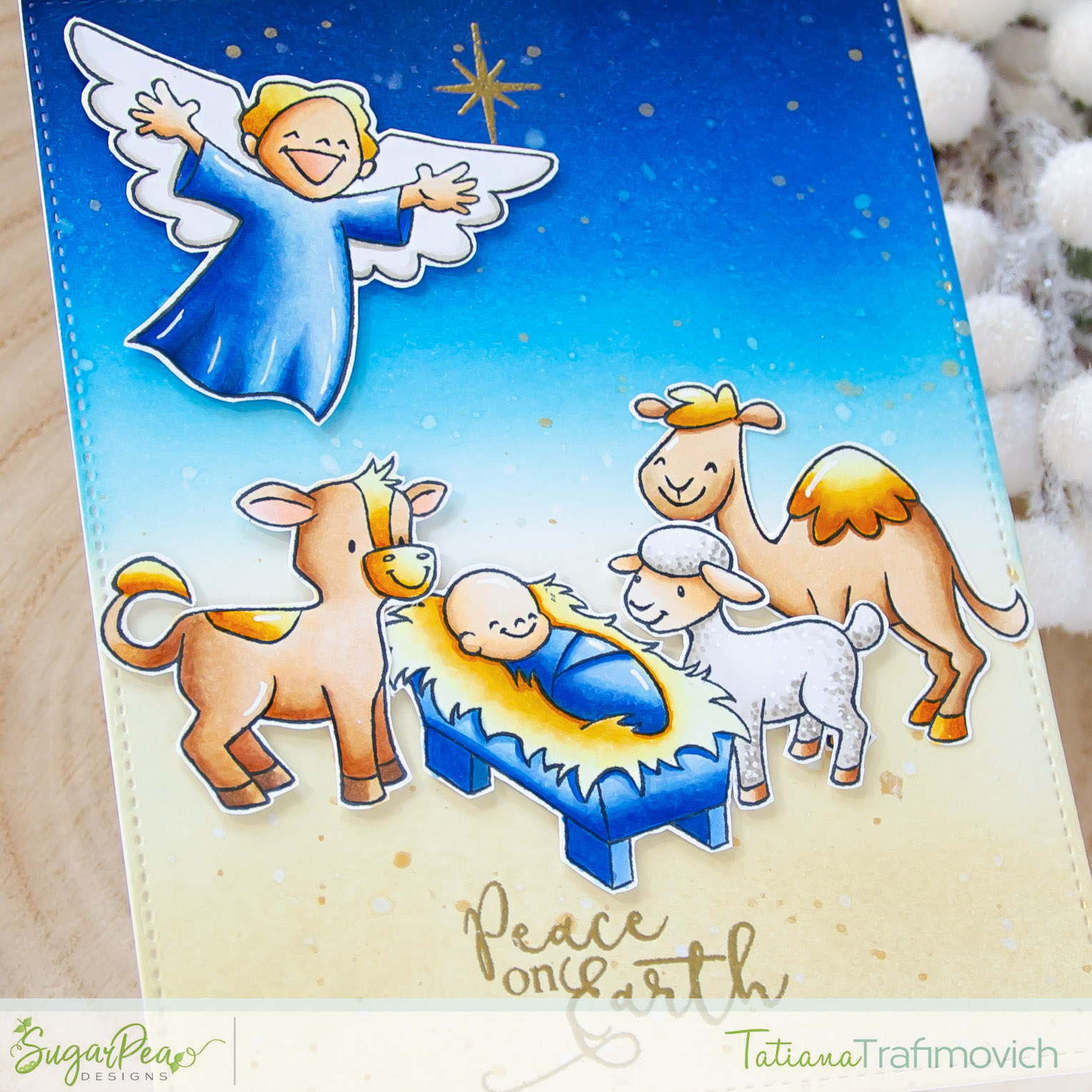 Peace On Earth #handmade card by Tatiana Trafimovich #tatianacraftandart - Come Let Us Adore Him stamp set by SugarPea Designs #sugarpeadesigns