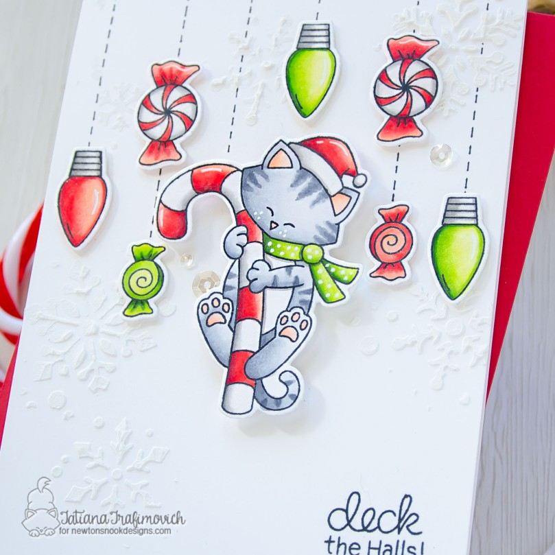 Deck The Halls #handmade card by Tatiana Trafimovich #tatianacraftandart - Newton's Candy Cane stamp set by Newton's Nook Designs #newtonsnook