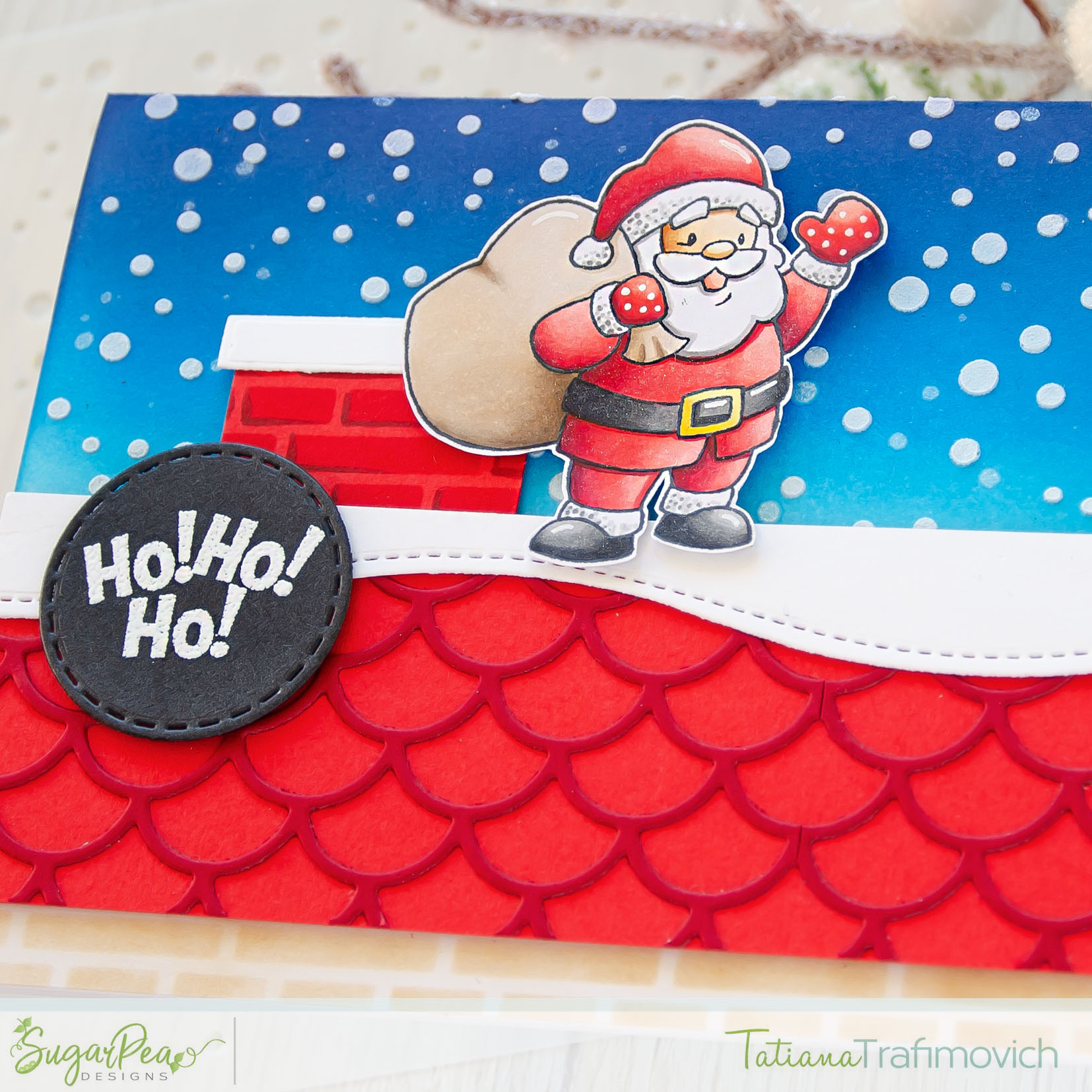 Ho! Ho! Ho! #handmade card by Tatiana Trafimovich #tatianacraftandart - Here Comes Santa Claus stamp set by SugarPea Designs #sugarpeadesigns