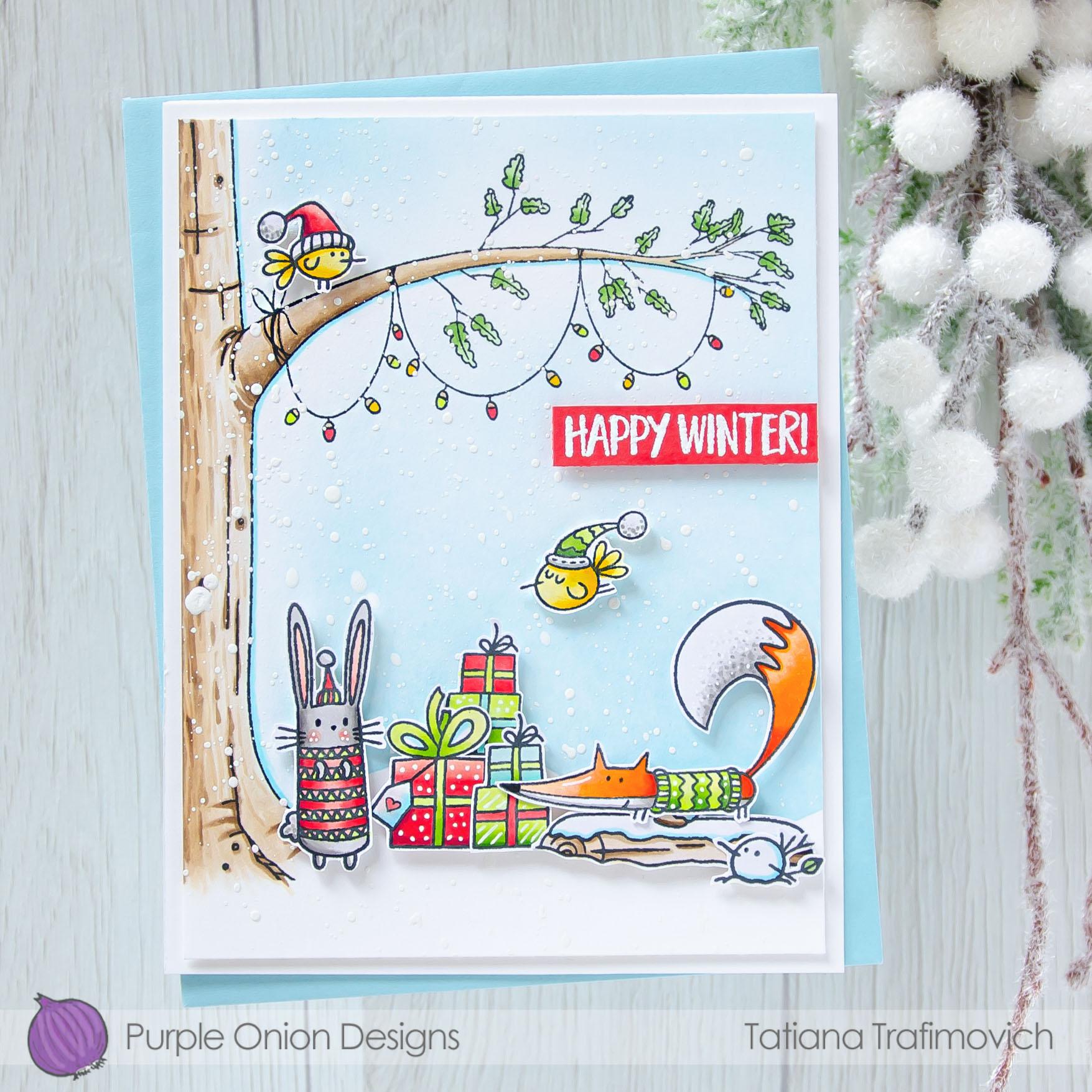 Happy Winter #handmade card by Tatiana Trafimovich #tatianacraftandart - stamps by Purple Onion Designs