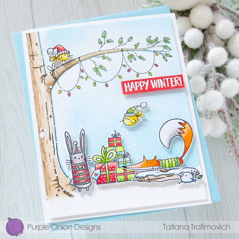Happy Winter #handmade card by Tatiana Trafimovich #tatianacraftandart - stamps by Purple Onion Designs