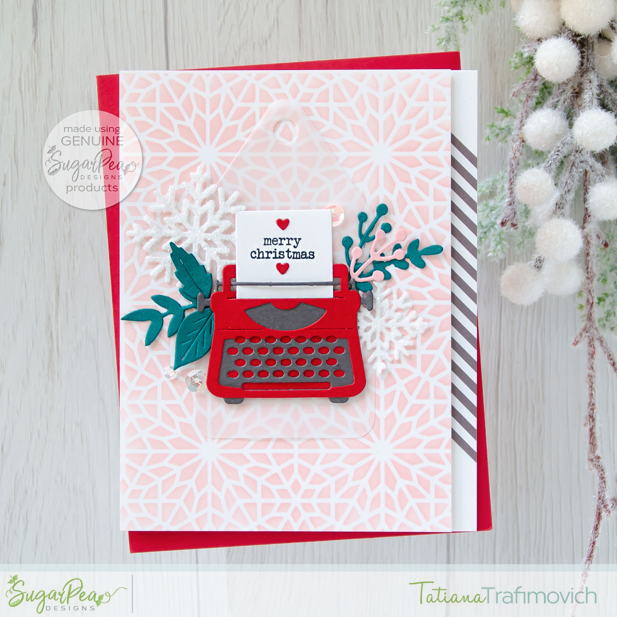 Merry Christmas #handmade card by Tatiana Trafimovich #tatianacraftandart - You're My Type SugarCut  by SugarPea Designs #sugarpeadesigns